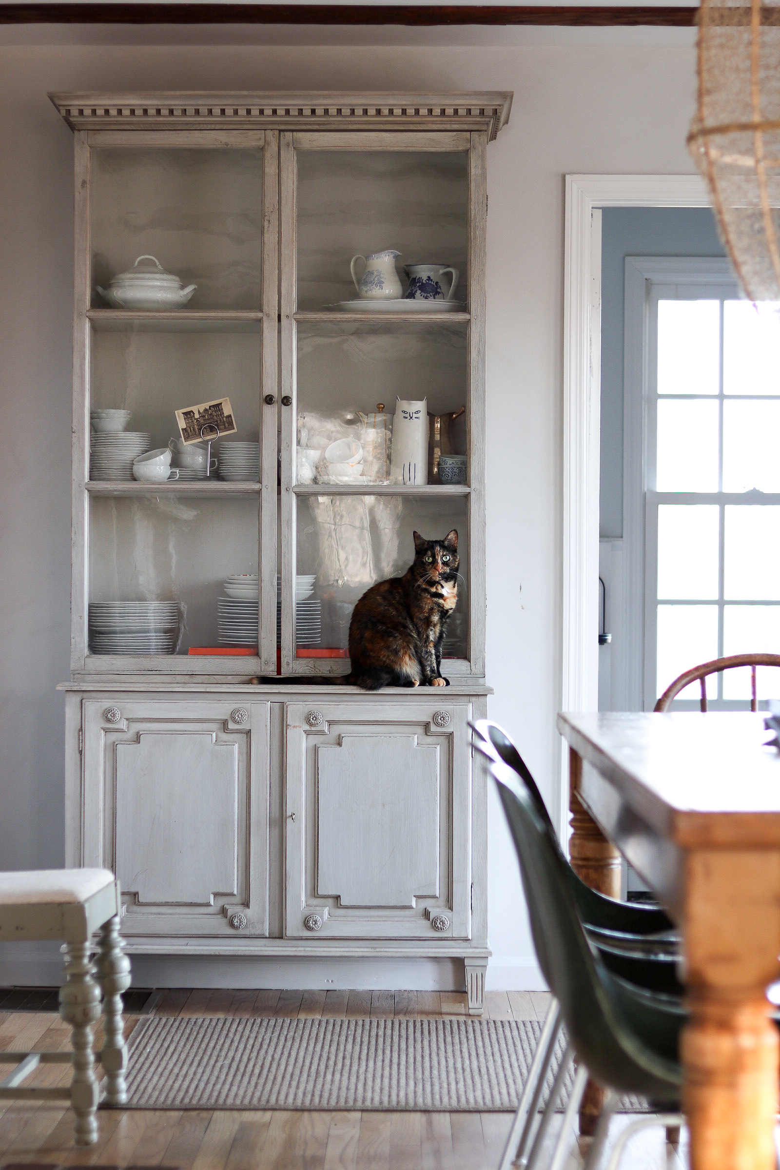 antique swedish hutch in kitchen