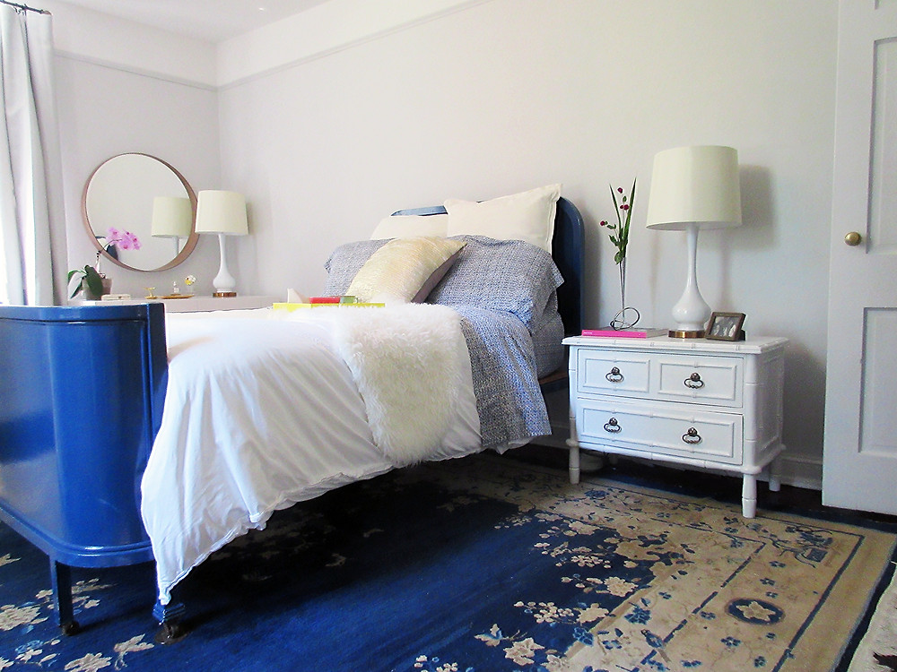 BLUE PEKING RUG WITH BLUE LACQUERED BED BAMBOO NIGHTSTAND