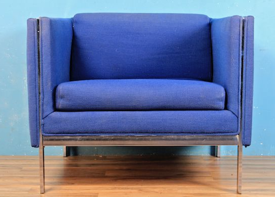 Blue and chrome club chair