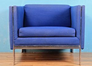 Blue and chrome club chair