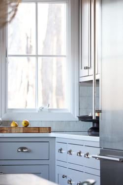 light gray inset kitchen cabinets
