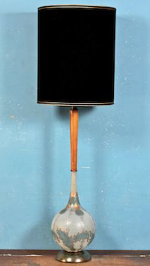 mid century modern lamp with black shade