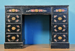 Floral hand painted kneehole desk