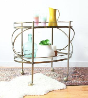 Solid brass & glass bar cart