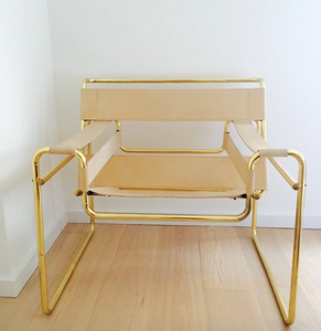 tan and gold chair