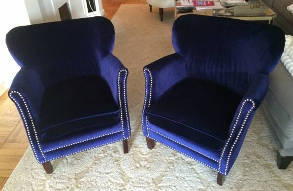 Safavieh blue velvet chairs