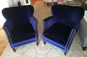 Safavieh blue velvet chairs