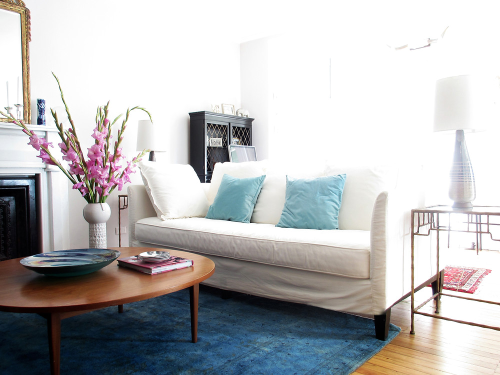 white couch in sunny living room