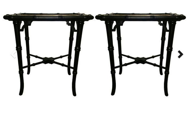 black bamboo coffee tables with gold top