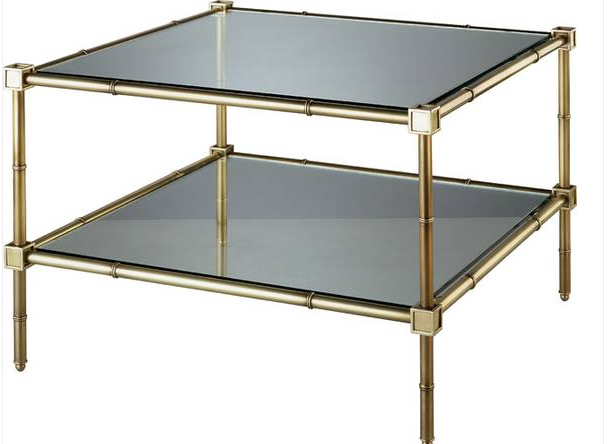 Jonathon Adler brass bamboo coffee table