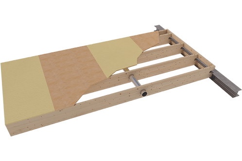 Internal floor element with sound reduction plates