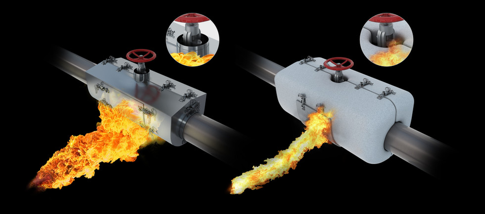Firebox for pipework piping pipe junction box fire protection Epoxy Intumescent ISO-22899 jet fire ISO-22899-1 NORSOK