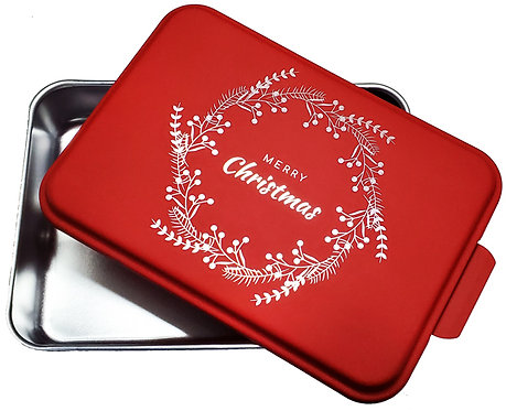 Merry Christmas Wreath Red Cake Pan