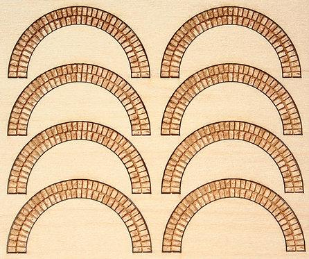 HO Scale - .74 Diameter Arched Brick Lintels