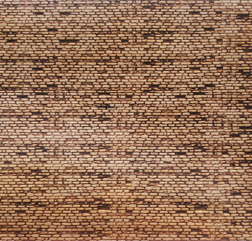 "S Scale Old Brick Sheet 12""x4""x1/8"" Basswood Sheet"