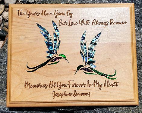 "8""x10"" Humming Bird Bereavement Plaque - Natural Wood"