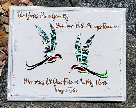 "8""x10"" Humming Bird Bereavement Plaque - Distressed Wood"