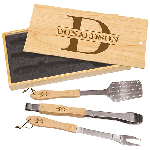 3-Piece BBQ Set Custom Engraved