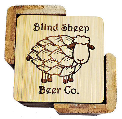 Bamboo Square 6-Coaster Set with Holder