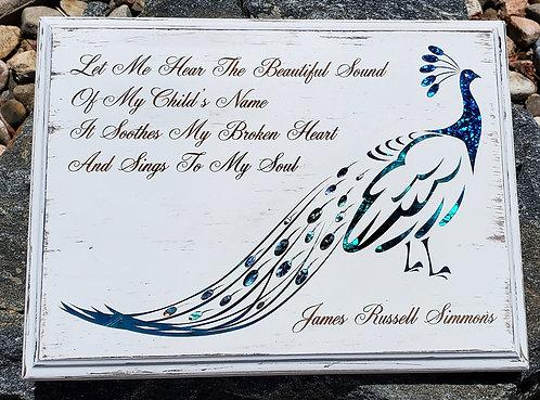 "9""x12"" Peacock Bereavement Plaque - Distressed White"