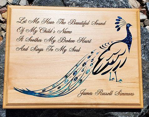 "9""x12"" Peacock Bereavement Plaque - Natural Wood"