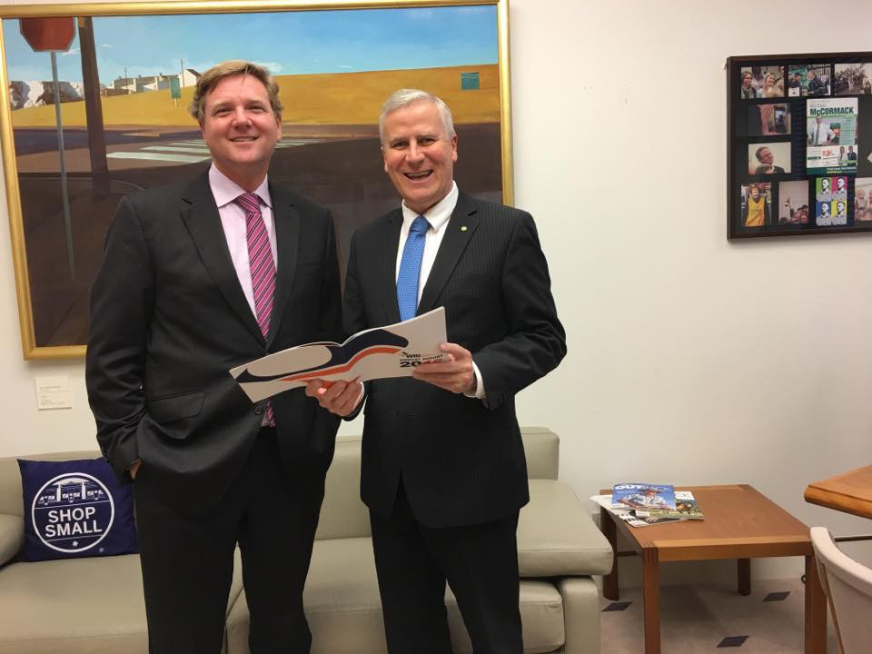 Mark Burdack with Minister for Small Business Michael McCormack