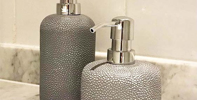 Faux Shagreen Lotion Pump Grey   Silver