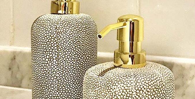 Faux Shagreen Lotion Pump Creme | Gold