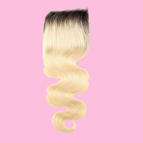 613 Blonde W/ 1B Roots Lace Closure