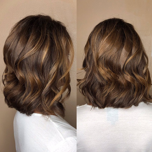 Cut and color: lob with soft waves