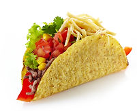 Mexican food Taco isolated on a white ba