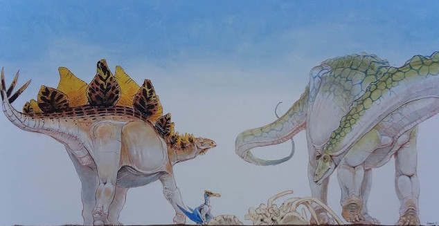 Stegosaur and Sauropod