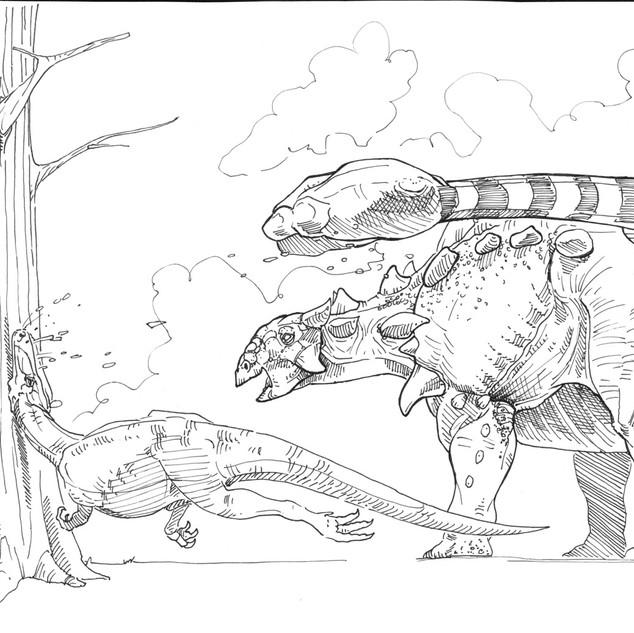 Ankylosaur and Theropod