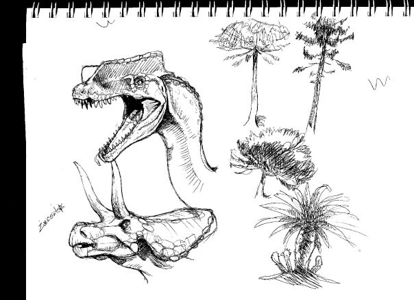 Dino and Plant Sketches