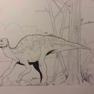 Hadrosaur Line Art