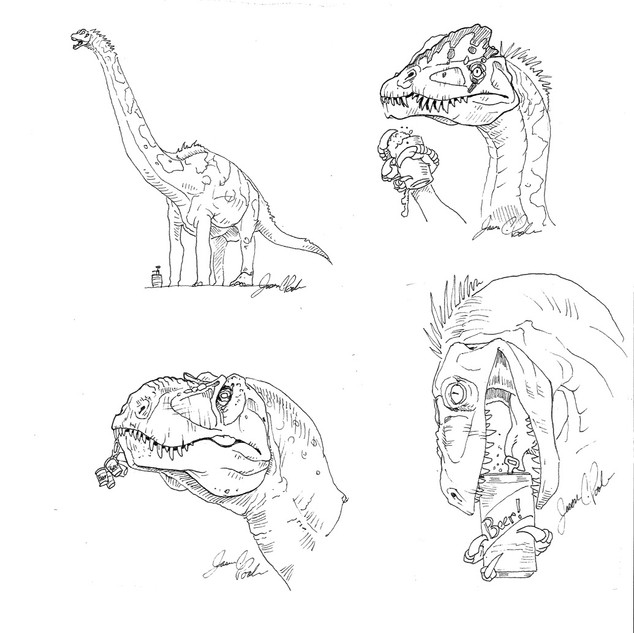 Dinos and Beer Sketches