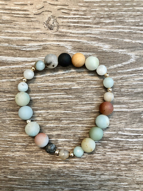 Amazonite Peace Bracelet with Silver beads