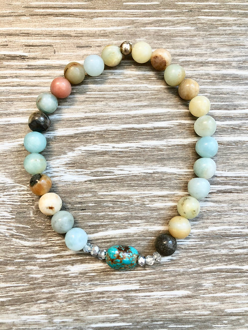 Amazonite and Turquoise Peace Bracelet