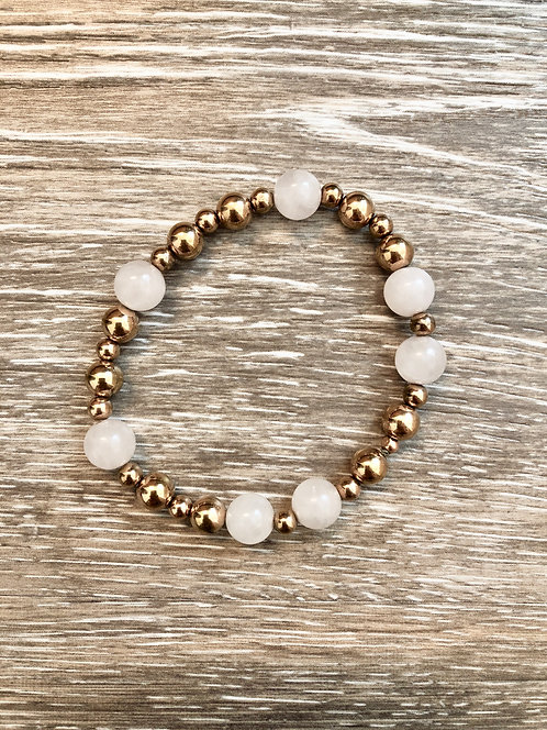 Rose Quartz & Rose Gold Plated Hematite Bracelet