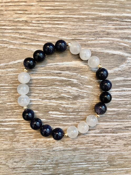 Blue Goldstone and Moonstone Beauty Bracelet