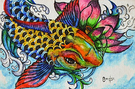 Koi Fish (fantasy) - 4 x 6 copic marker and pen