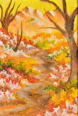 Autumn trail - 4 x 6 oil painting (impression)
