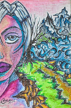 Distant thoughts (fantasy) - Copic marker and pen on canvas