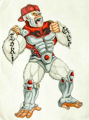 Concept art - White Gorilla Cyborg
