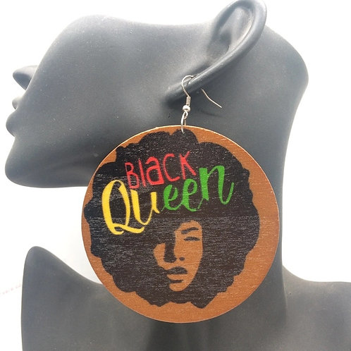 Black Queen Wood Earrings