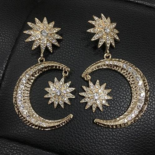 Dazzling Moon Star Rhinestone earrings