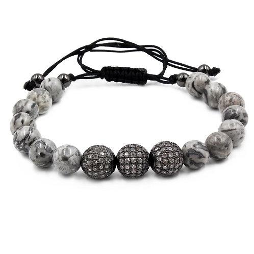 Gray Marble Bead Bracelet