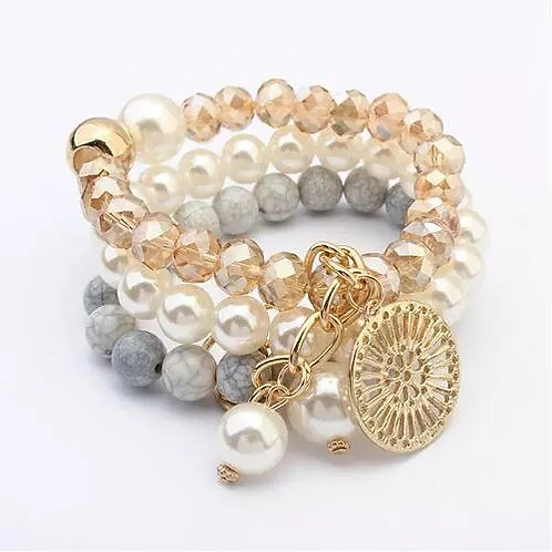 Multi-Layer Big coin bracelet set