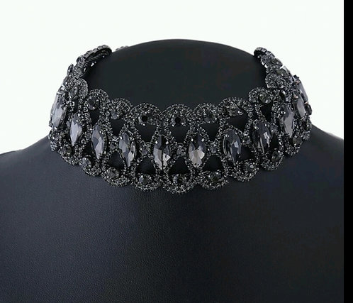 Black Statement Rhinestone Choker