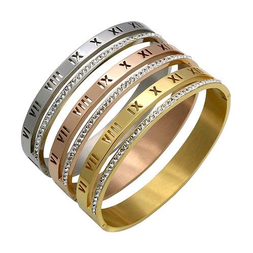 Crystal Roman Numerals Cuff Bracelet